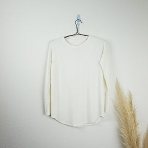 Chaser Long Sleeve Waffle Knit Cream Henley Top